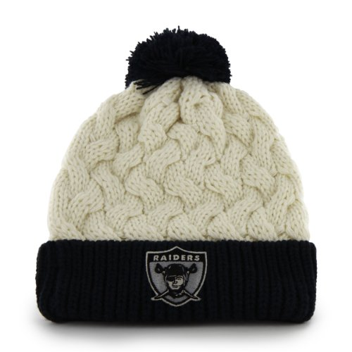 NFL Women's Oakland Raiders cable knit cuffed hat with pom pom by '47 Brand