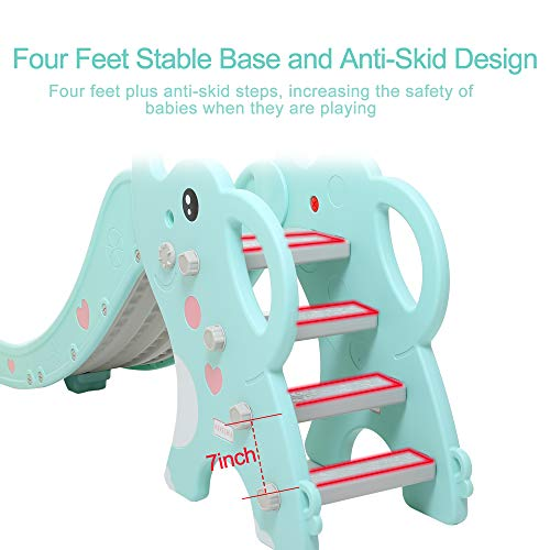WenStorm Slide for Boys Girls Indoor Outdoor Backyard Use First Slide Playground Plastic Play Slide Climber with Basketball Hoop Elephant Sky Blue by WenStorm (Image #2)