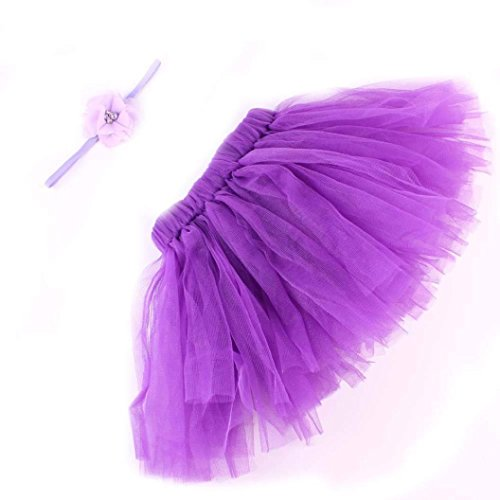 DZT1968® Baby Girl Headband With Tutu Skirt Dress Costume Photo Prop Outfit (Purple) (Costumes With Purple Hair)