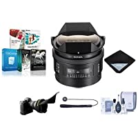 Sony 16mm f/2.8 Alpha A DSLR Mount Fisheye Lens - Bundle with Flex Lens Shade, Cleaning Kit, Lens Wrap (15x15), Capleash, Software Package