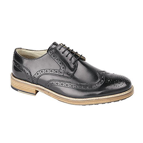 Roamers Zapatos Gibson Cubiertos con Acentos y Suela de Resina con Cinco Ojales Para Hombre Negro