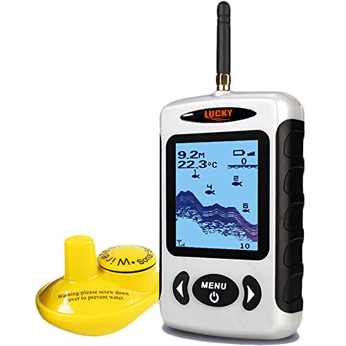 Lucky Wireless Fish Finder Sonar Sensor Portable Sonar Fishfinder LCD Display Depth Finders for Fishing Ice Fishing Kayak Fishing