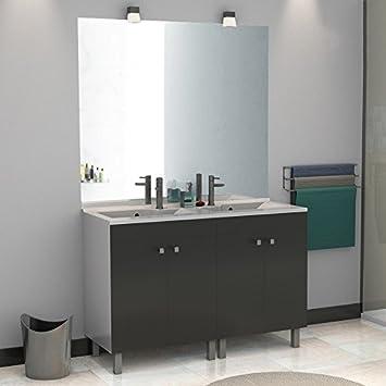 Meuble salle de bain ÉCOLINE 140 double vasque résine - Gris ...