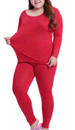 Plus Winter Neck Long Set Sleeve TTYLLMAO Women's Round Underwear Red Thermal Size SEfxTUpqw