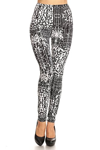 Leggings Mania Women's Geometric Abstract Print High Waist Leggings Wht Blk, One Size Fits Most (0-12), Geometric