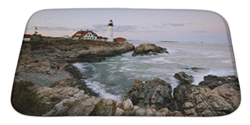 Gear New Bath Rug Mat No Slip Skid Microfiber Soft Plush Absorbent Memory Foam, Portland Headlight, 34x21 Atlantic Coastline Memories