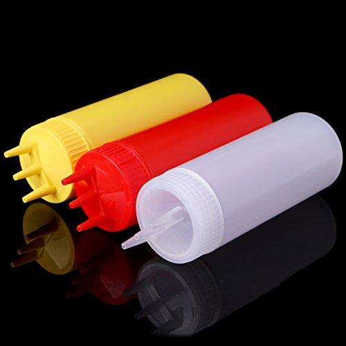 Milue 3 Hole Squeeze Bottle Condiment Dispenser Sauce Vinegar Oil Ketchup Cruet Bin (White) by Milue (Image #7)