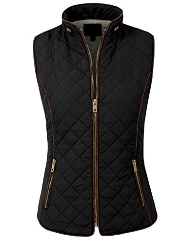 NE PEOPLE Womens Lightweight Wool Lined Quilted Zip JacketVest S3XXL, XXLarge, NEWV44BLACK (Quilted Womens Jeans)