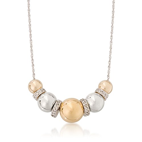 Ross-Simons Sterling Silver and 14kt Yellow Gold Bead Necklace With .35 ct. t.w. Diamonds