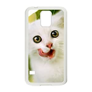 Diy Lovely Cat Phone Case for samsung galaxy s5 White Shell Phone JFLIFE(TM) [Pattern-1] by ruishername