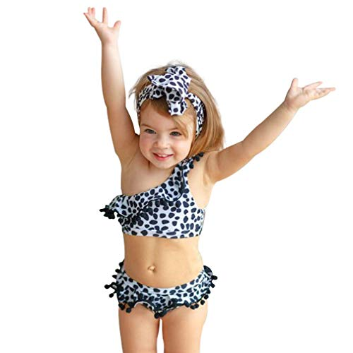 - Cenhope Toddler Baby Girls Bikini Kid Baby Girl Leopard Print Swimsuit Polka Dot Swimwear Beachwear with Headband (Kid Baby Girl Leopard Bikini Set, 4-5T)