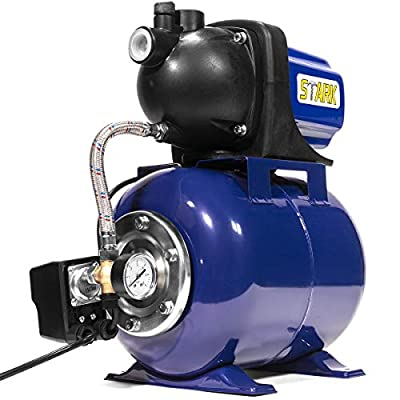 XtremepowerUS 1.6 HP Shallow Jet Water Well Pump with Tank Garden Sprinkler System, Blue