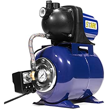 xtremepowerus 1 6 hp shallow jet water well pump with tank garden sprinkler  system, blue