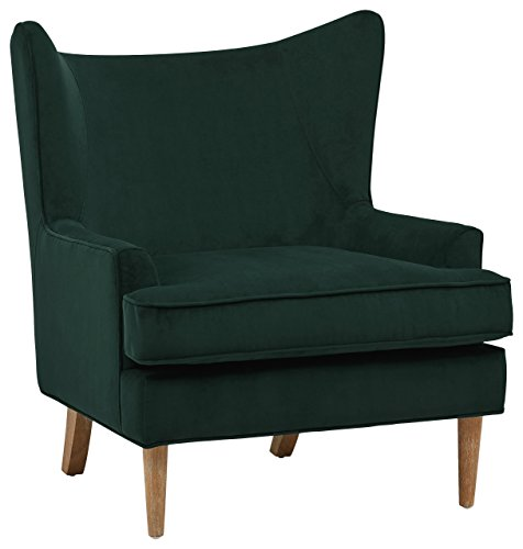 """Rivet Chelsea Velvet Wingback Accent Chair, Evergreen - This wing-backed Mid-Century modern chair will be a smart style addition to your home. The rich, velvety look and feel make it cozy while exuding a bold design statement that will turn your friends' heads. 31""""W x 36.25""""D x 37.38""""H Wood frame and legs - living-room-furniture, living-room, accent-chairs - 41lbEqgnQEL -"""