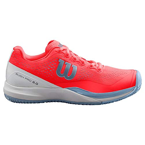 Wilson RUSH PRO 3.0 Tennis Shoes Women, Fiery Coral/White/Cashmere Blue, 8.5