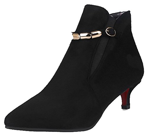 Toe Black Booties Ankle Medium Stylish Women's Aisun Kitten Belt Frosted Pointed Buckled Heel Side gPIOn7Hqwx