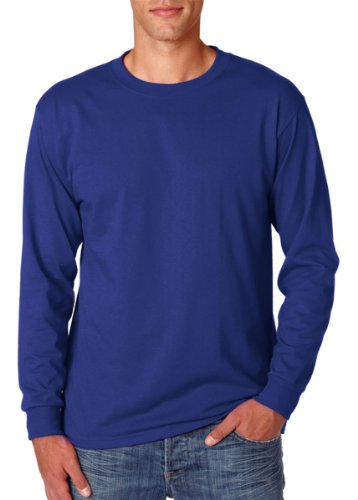 Jerzees Adult Long-Sleeve Heavyweight 50/50 Blend T-Shirt, True Royal, Large (Heavyweight Youth Jerzees Blend)