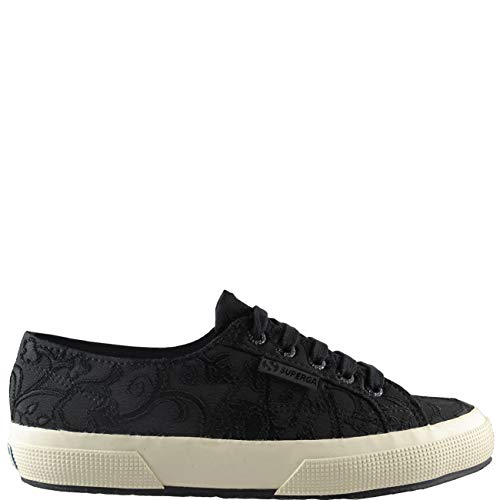 Flower Low Black Fashion Trainers Embroidery Womens Top Crepe Superga Casual Bq7cYEAzxw