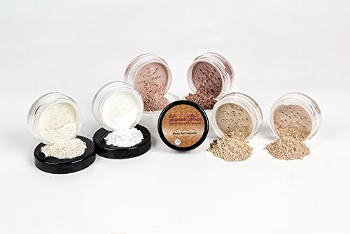 Bare Set Sheer (Mineral Makeup XL KIT Full Size Foundation Set Sheer Bare Skin Powder Cover (Warm (neutral-most popular)) by Sweet Face Minerals)
