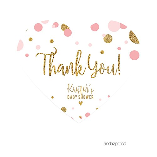 Andaz Press Blush Pink Gold Glitter Girl Baby Shower Party Collection, Personalized Mini Heart Label Stickers, Thank You, 75-Pack, Custom ()