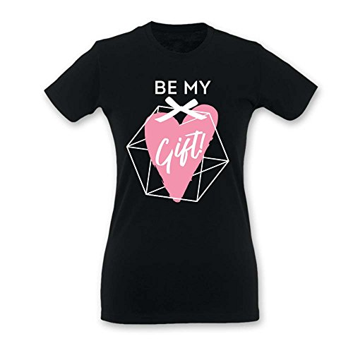 T Shirt Donna Idea Regalo di Natale Be My Gift Nera M