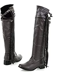 Womens Flat Heel Round Toe Fringe Over The Knee Boot