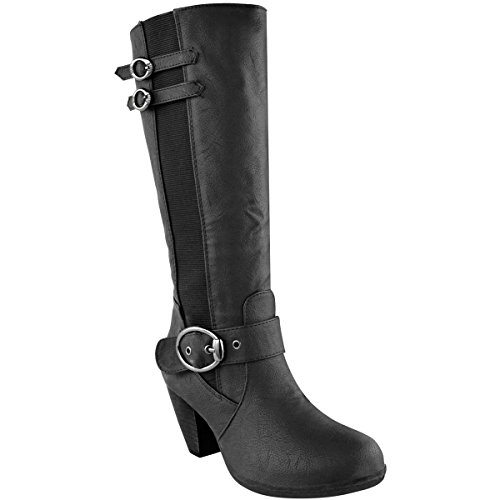 Fashion Thirsty Womens Wide Leg Knee High Mid Calf Block Heel Riding Boots Stretch Shoes Size Black Faux Leather