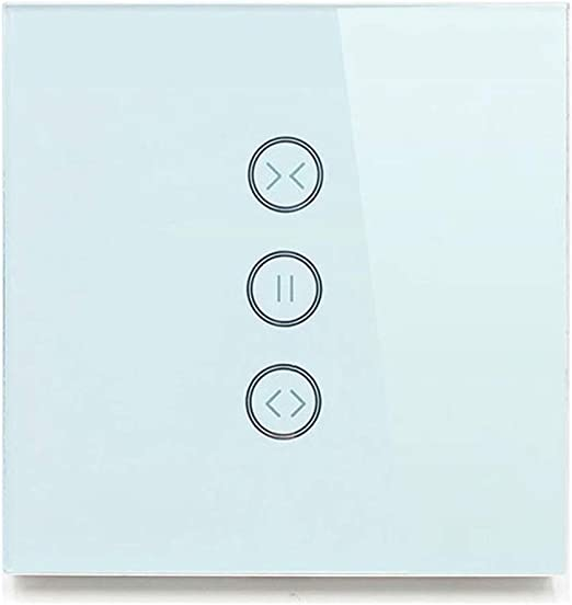 Blanco WiFi Persianas el/éctricas Interruptor Toque WiFi Cortina Interruptor APLICACI/ÓN Control de voz Compatible con Alexa y Google Assistant