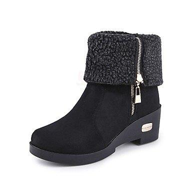 La mujer Primavera botas de tacón bajo de confort Casual gamuza Camel café negro Black