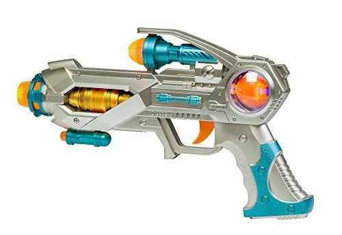 Space Blaster Electronic Gun - Shooting Toy Gun with Lights and Sound, Flashes and Spins by The Paragon