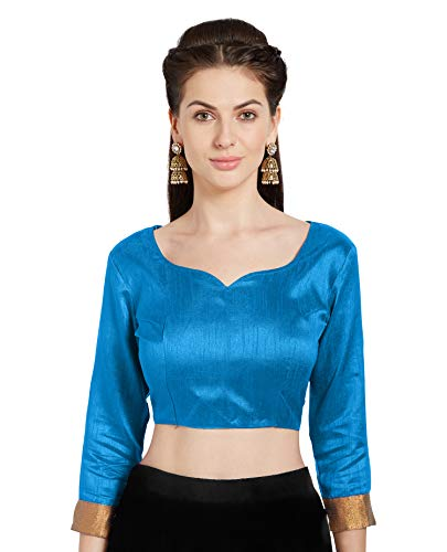 (Women's Turquoise Art Silk Readymade Blouse Choli Mirchi Fashion Top)