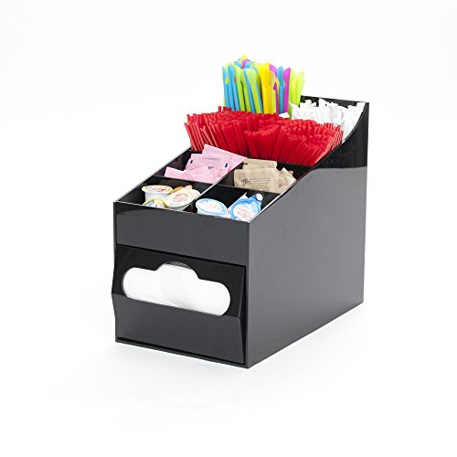 Mind Reader Condiment and Accessories Organizer with Napkin Holder, 8 Compartment, Black