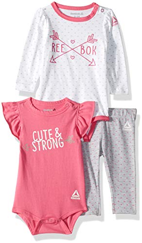 Reebok Baby Girls 3 Piece Fierce Little One Creepers and Legging Set, Carmine Rose, 0-3 Months