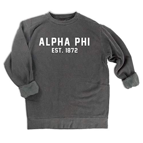 Go Greek Chic Alpha Phi est. 1872 Sweatshirt (Medium) Charcoal