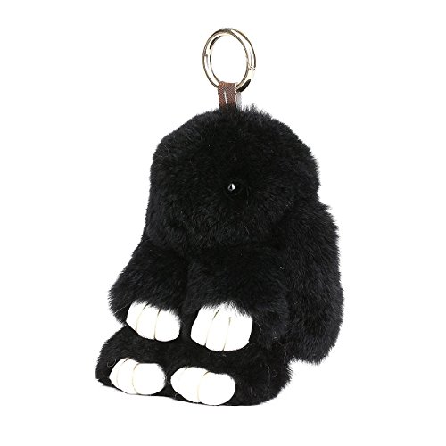 (CHMIING Bunny Keychain Soft Cute Rex Rabbit Fur Keychain Car Handbag Keyring)