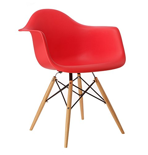 Promo Lot de 2x Sessel Design Inspiration DAW Füße helles Holz Sitzfläche PP?mobistyl® mobi-dawl - 2 X Rouge