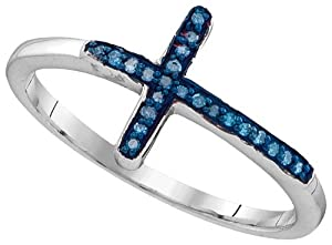 Sterling Silver Womens Round Blue Colored Diamond Christian Cross Cluster Ring 1/20 Cttw