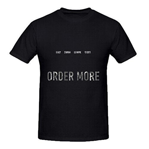 G Eazy Order More 80s Album Cover Men Crew Neck Short Sleeve T Shirts Black (70s Or 80s Clothing)