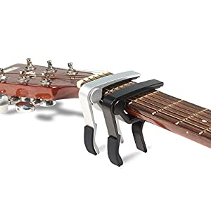 MUSTANG-6-String-Single-handed-Guitar-Capo-For-Acoustic-Electric-Guitar-2-Pack-of-Black-and-Silver