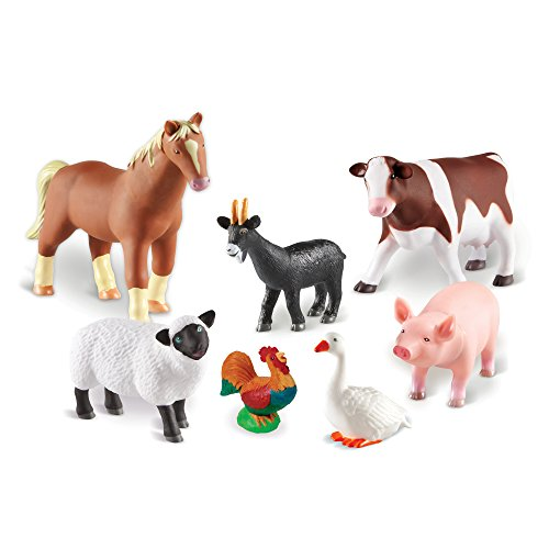 Learning Resources Jumbo Farm Animals, Inludes Horse, Pig, Cow, Goat, Sheep, Rooster, Goose, 7 Pieces, Ages 18 Mos+