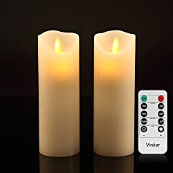"Vinkor Flameless Candles Flickering Flameless Candles Set Of 2 Decorative Flameless Candles: 6"" Classic Real Wax Pillar With Moving Led Flame & 10-key Remote Control 2468 Hours Timer (Ivory)"
