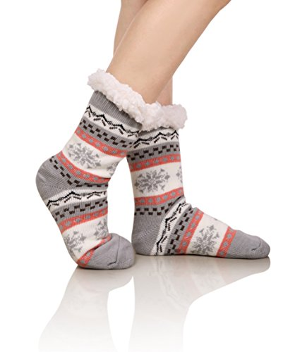 DoSmart Womens Winter Thermal Snowflake Fleece Lining Fuzzy Warm Indoor Home Socks Gray One Size ()