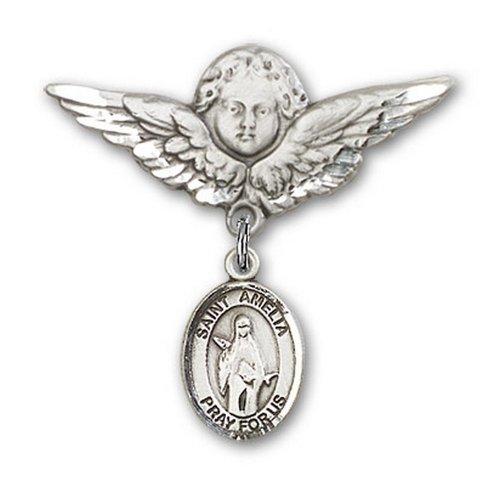Icecarats Créatrice De Bijoux En Argent Sterling St. Amelia Charme Ange Broche De Badge 1 1/8 X 1 1/8