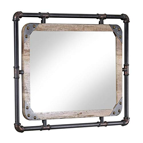 Furniture of America Gee Industrial Wall Mirror in Antique -