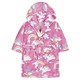 Girls Unicorn Dressing Gown Robe Soft Cral Fleece (4-5 Years, Pink)