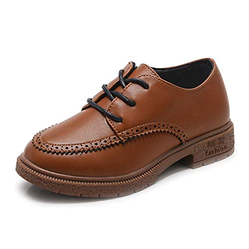 F-OXMY Kids Side Zip Oxfords Dress Shoes Comfort Anti-Slip Outdoor Lace-up Casual Shoes for Boys Brown by F-OXMY