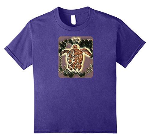 Kids Swimming Sea Turtle Beach Lover T-shirt 10 Purple