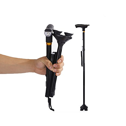 Folding Walking Cane with LED Light,Professional LED Lights for Getting Around in the Dark, Non-Slip walking stick Aluminum Adjustable Height for Women and Men