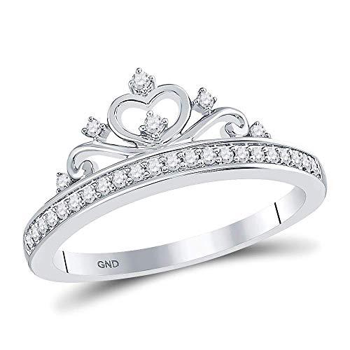 10kt White Gold Womens Round Diamond Crown Tiara Fashion Ring 1/6 -