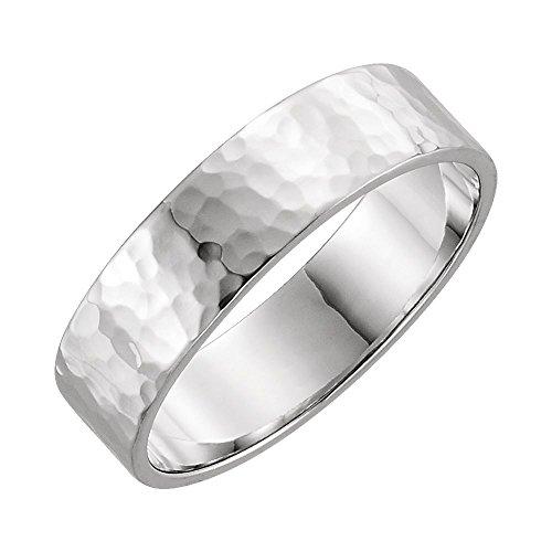 14k White Gold Flat Band - 14k White Gold 6mm Flat Band with Hammer Finish Size 9, 14kt White gold, Ring Size 9